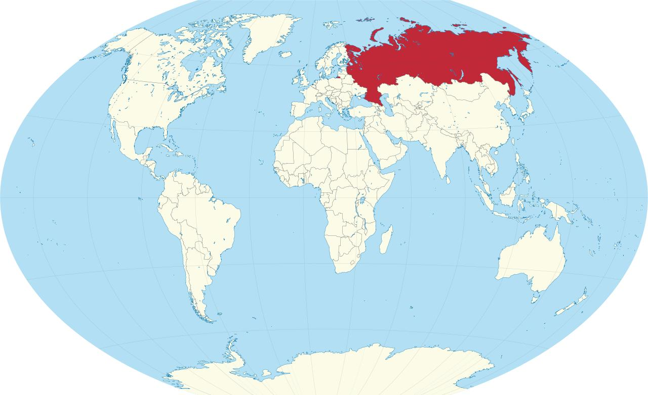 Russie sur la carte du monde