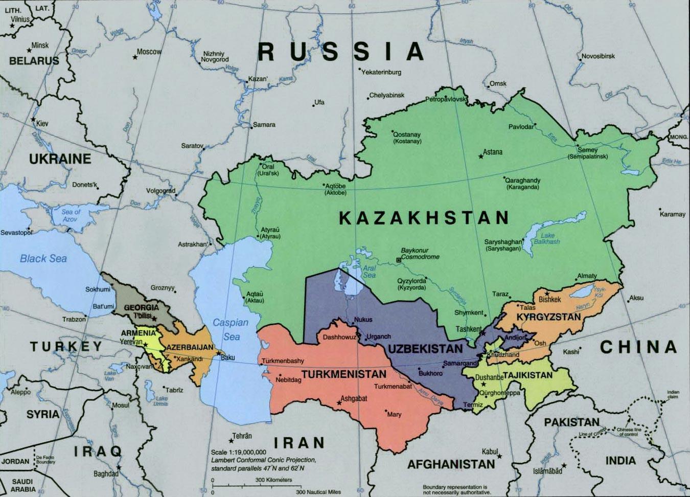La Carte De Lasie Centrale.La Russie Et L Asie Centrale Carte Carte De La Russie Et